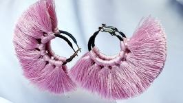Серьги кольца ′PINK AIR′  розовое и черное в стиле бохо Серьги кисти
