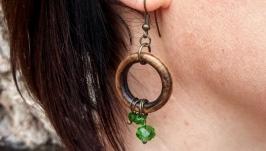 Wood Earrings ′Emerald′