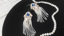 Сережки з мушлями, серьги с ракушками и кристаллами, весільні сережки
