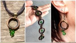 SET ′Earrings, Pendant, Bracelet′ ′Emerald′