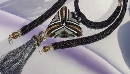 Ожерелье ′ WIND FORCE′ из бисера  Лариат в этно стиле