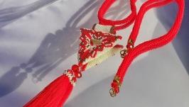 Лариат ′FIRE FORCE′ в этно стиле Ожерелье красное из бисера