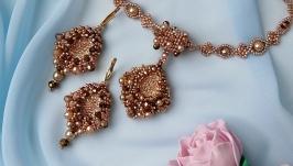Комплект вечерних украшений ручной работы «розовое золото»
