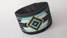 Мужской кожаный браслет с вышивкой ′Ethnich′