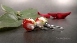Серебряные серьги Розовый сад