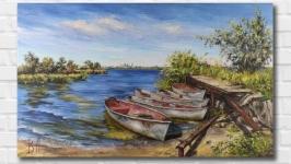 Картина маслом ′Рыбацкие лодки′ 30х50 см, холст на подрамнике, масло