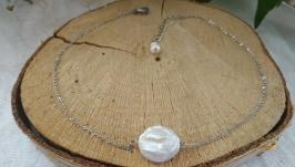 Чокер - цепочка с натуральной барочной жемчужиной ′Барокко′