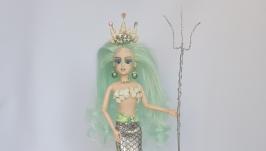 Русалочка с красивой короной из натуральных ракушек, со стразами