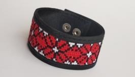 Женский кожаный браслет с вышивкой ′Viena′