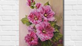Картина маслом ′Розовые цветы′ 45х35 см, холст на подрамнике, масло