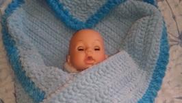Детский плед из плюшевой пряжи.