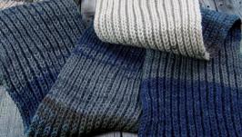 Multi-color scarf (white, gray, blue, black)