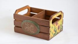 тут изображено Ящик реечный ′ Подсолнухи′