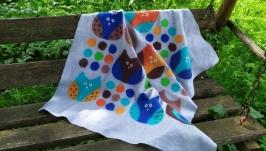Валяное детское одеяло-плед из шерсти