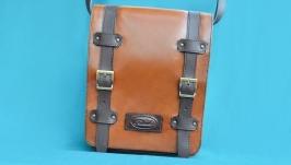 Коричневая кожаная сумка на ремне для мужчин