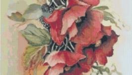 Схема для вышивки картины крестом - Маки 3