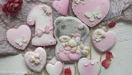 Топпери в торт ′Тедді′ для дівчинки. Пряники