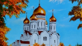 Картина маслом ′Осенний пейзаж с Храмом′