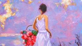Картина маслом ′Розовый закат′