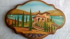 Панно - ключница - вешалка ′Вилла в Тоскане′.
