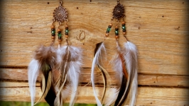 Серьги с перьями Изумрудные капли