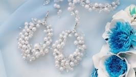 Свадебные серьги и шпилька «невеста»