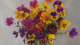 Oil painting ′Pansies′.