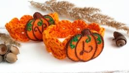 Осенние кольца для салфеток тыквы Осенний декор для столовой эко