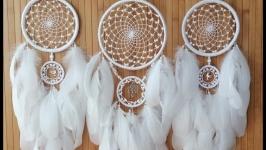 Ловец снов комплект из 3шт. ′Древо любви и голуби′ . Белые ловцы снов
