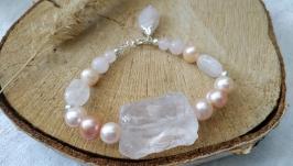 Серебряный браслет из розового кварца и жемчуга ′Мираж′