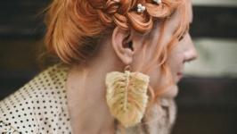 Серьги плетёные ′Перо′