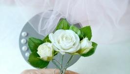 Шпильки для зачіски з трояндами айворі