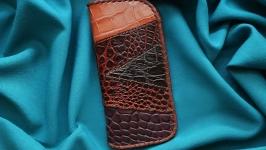 Кожаный очечник ′МУЛЬТИКОЛОР′ из нескольких видов кожи