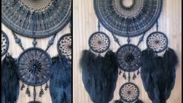 Чёрный большой ловец снов, 5 колец, в стиле бохо.
