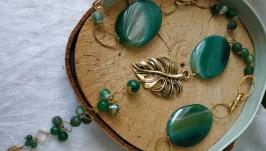 Длинное колье из зеленых агатов ′Лесная сказка′