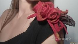 Брошка валяна ′Квіти настрою - троянди′