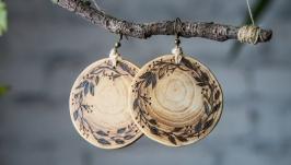 Wooden Round Earrings. Pyrography Earrings.