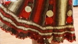 Новая вязаная на спицах юбка из меланжевой пряжи