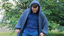 Мужское пальто вязаное