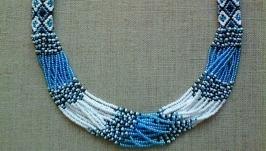 Beaded Ethno necklace gerdan blue-black-white