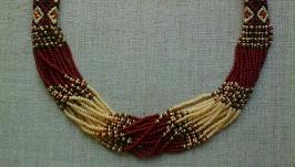 Beaded Ethno necklace gerdan brown-black-beige