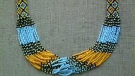 Beaded Ethno necklace gerdan red-black-white