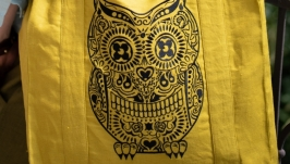 Mustard linen Tote bag with skull OWL Calavera Buho
