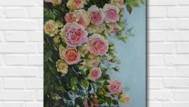 Картина маслом ′Аромат розы′ 60х40 см, холст на подрамнике, масло