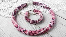 Жгут и браслет серо-розовый пэчворк
