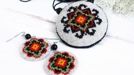 Комплект кулон и серьги бохо Украинские украшения под вышиванку