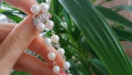 Серебряные серьги - пусеты с подвесками из жемчуга ′Жаклин′