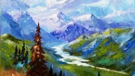 Картина маслом ′Романтика гор′ холст на подрамнике