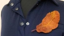 Брошка з вовни ′Дубовий листок′
