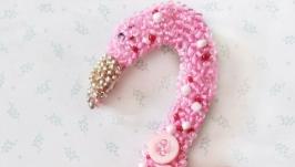 Авторская брошь вышитая бисером Фламинго